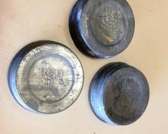 Set of 3 vintage zinc Ball Mason Jar Lids. Has Ball logo from 1933-1960