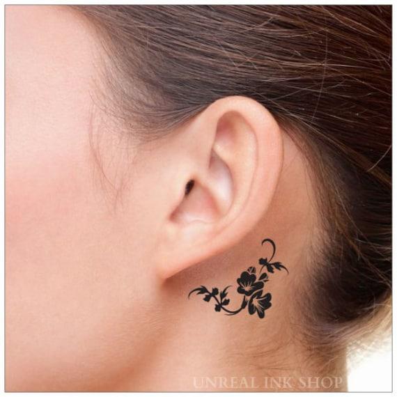 Tatouage temporaire 2 fleur nuque tatouages