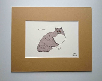 "Persian Cat Drawing - ORIGINAL - w/ 8""x10"" mat"