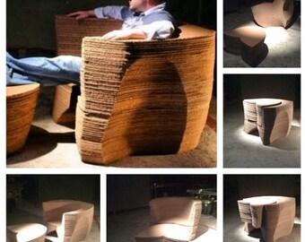 Made to order, modular cardboard chair & ottoman