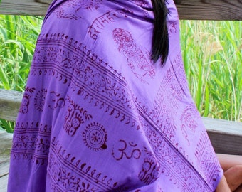 OM Yoga Purple Cotton Shawl,NEPAL