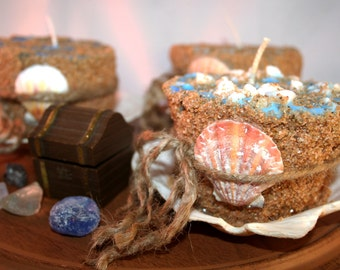 Sunken Treasure Sand Candles with Real Shells, Fossils, Sea Glass and Trinkets Hidden Inside the Candles