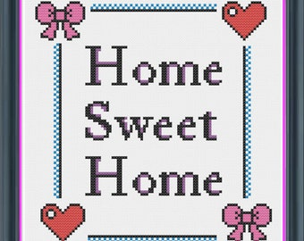 Cute Home Sweet Home Cross Stitch PDF Pattern - INSTANT DOWNLOAD