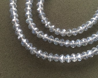 "16"" Loose Chinese Glass 10mm Faceted Rondelle Beads – Silver Grey"