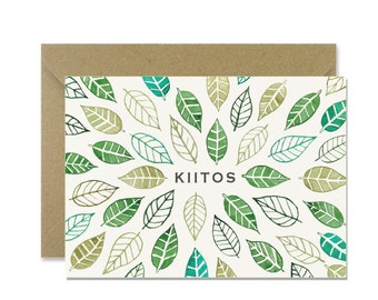 Kiitos green leaves - a Thank you card in Finnish