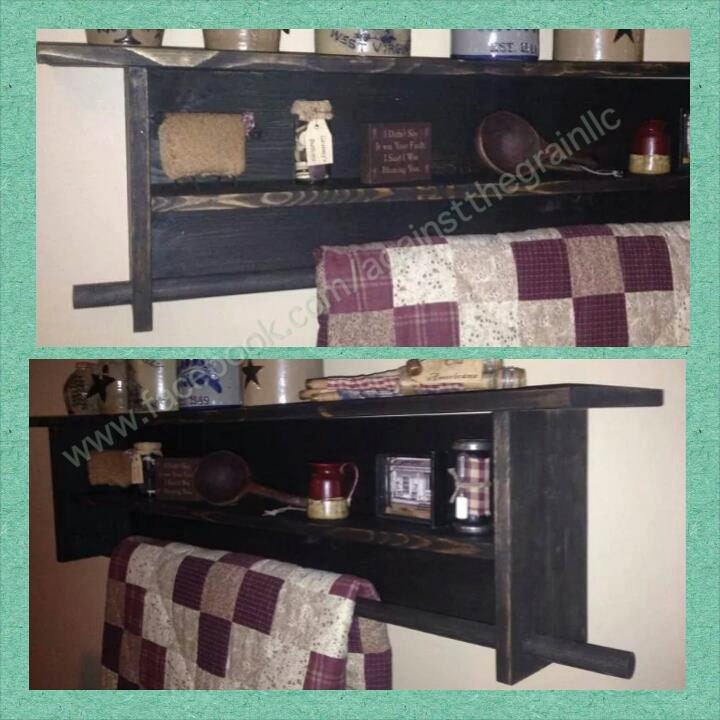 Handmade Primitive Wall Quilt Rack With By Againstthegrainllc