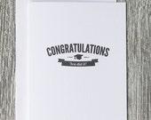 Congratulations - Graduation - Vintage Logo Design - Letterpress Blank Greeting Card on 100% Cotton Paper