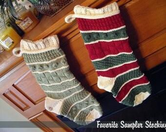 Favorite Sampler Stocking Knitting Pattern