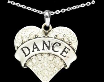 Dance Rhinestone Heart Necklace