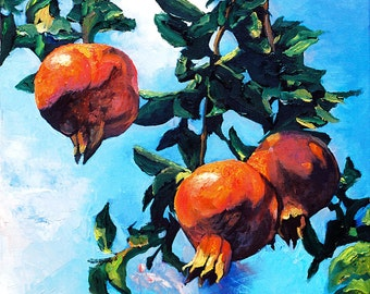 Pomegranate Tree -Judaica Print painting/seven species/Judaica Art. Digital Print/ paper Print. Pommegranate.Israeli Artist