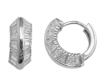 SH304 Sterling Silver 2-row Tapered Baguette Set 2.52 Carat Cubic Zirconia 15mm Huggie Hoop Earrings