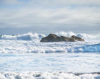 Blue Beach Decor, Ocean Art, Coastal Wall Decor, Big Sur Photography, Seaside Photographs - Surf and Rocks