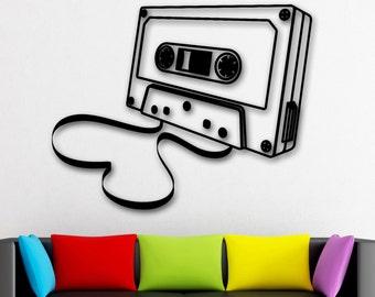 Wall Stickers Vinyl Decal Music Sound Audiotape Vintage Decor (ig1777)
