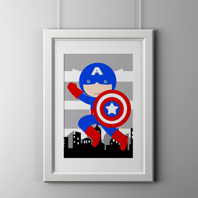 Captain America Superhero Wall Art Print High Quality Print