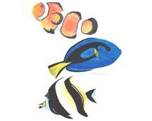 Little Aquarium-art print finding Nemo, nursery, watercolor fish watercolor art nautical animal art, children's art nature decor