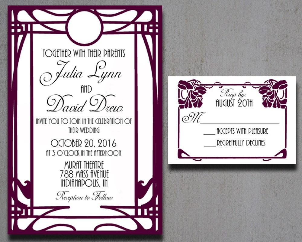 Deco Wedding Invitations: Art Deco Wedding Invitations Art Nouveau By HeartwoodPaperie