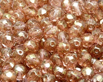 25pcs Czech Fire-Polished Faceted Glass Beads Round 8mm Crystal Terracotta Red