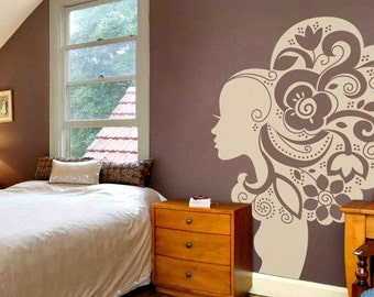 CREATIVE DESIGN: Floral Woman Wall Decal Art Home Deco Vynil Office Living room Front desk