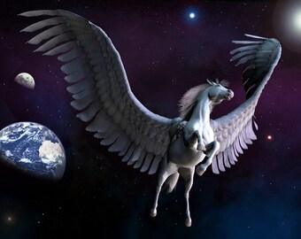 Fantasy Digital Art  Glossy Print 'Pegasus Among The Stars'