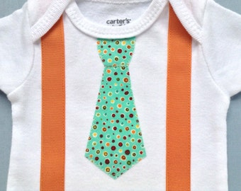 Baby Boy Clothes - Baby Boy Coming Home Outfit - Baby Boy Tie and Suspenders - Newborn Baby Boy Outfit - Papaya and Polka Dots