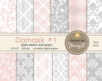Damask Wedding Baptismal Peach Gray Background Papers for Digi-Scrapping, Cards, Invitations INSTANT DOWNLOAD Personal and Commercial Use