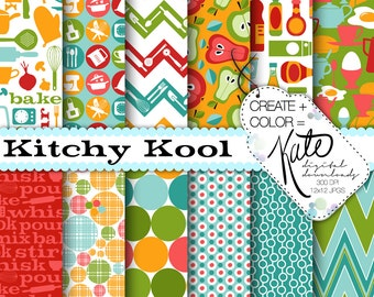 INSTANT DOWNLOAD: Kitchy Kool Digital Paper Set