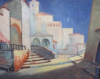 Vintage oil painting cityscape