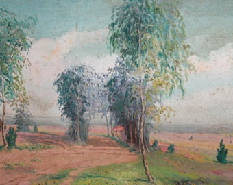 1964 Impressionist Painting Oil Landscape, Signed