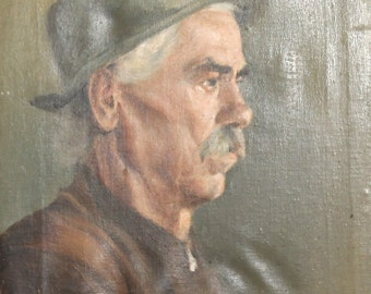 Antique oil painting man portrait signed