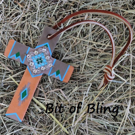 Handpainted Leather Saddle Cross Horse Tack Rodeo Barrel