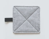Linen Pot Holder in Black and Ivory Windowpane Check Pattern- Handmade Hot Pad with Loop - Plaid Potholder (Made to Order)