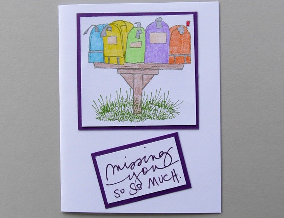 Missing you card with colorful mailboxes