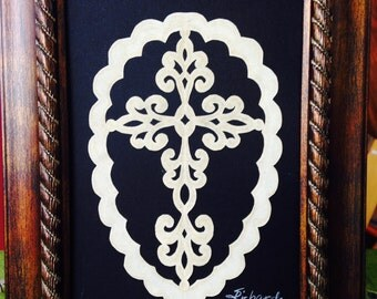 """Fancy Orleans Cross, ORIGINAL Handmade Paper Cutting, Scherenschnitte, fits 5x7"""" frame"""