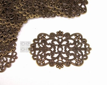 50x32mm antique brass bowtie rectangle filigree component, pendant, connector,oval filigree connector,floral filigree,flat filigree (sc2391)