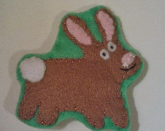 Gorgeous handsewn felt Rabbit brooch
