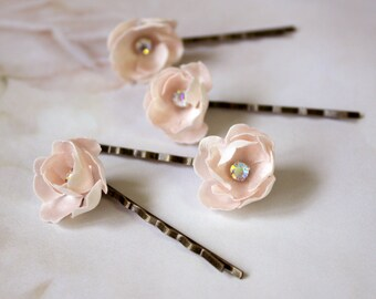 Bridal silk flower bobby pin, headpiece - hair bobby pin, a set for four, Ready to Ship