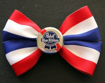 CLEARANCE...Pabst Red, White, & Blue Hair bow - pinup - rockabilly