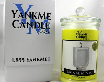 100% Soy jar candle with 15 funny candle names. Great gag gift or funny gift. Prank gift for all occasions Urinal Mints