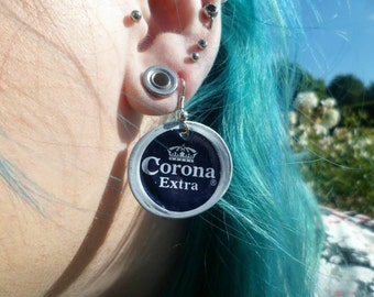 Upcycled Corona Bottle Cap Earrings