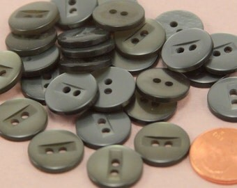 "24 Pearlized Dark Grey With Hint of Green Sew-though Plastic Buttons 9/16"" 15MM # 6372"