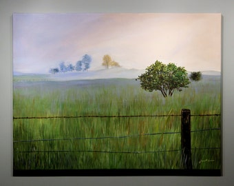 Rustic grass field in countryside - original acrylic landscape painting