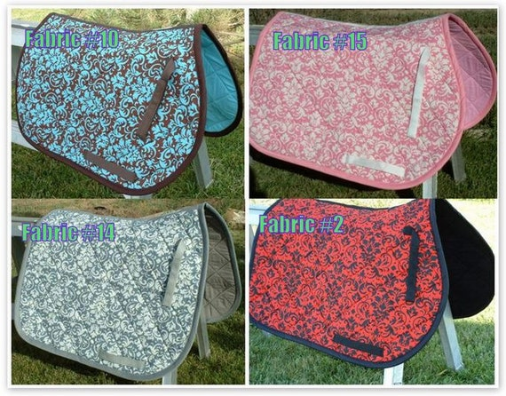Custom Order Damask Print Saddle Pad Many Colors - Imagez co