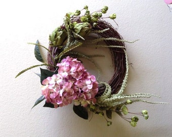 Pink Hydrangea Grapevine Wreath