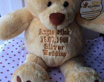 Personalised 42cm Teddy Bear - Births, Christenings, Weddings, Graduations