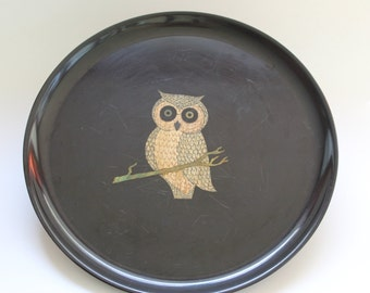 Couroc Owl Tray,  Mid-Century Platter, Round Serving Tray,  Owl Inlay, Monterey CA