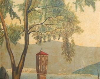 European art  river landscape antique oil painting signed
