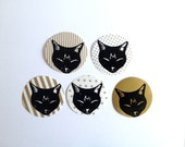 TEN CAT STICKERS Gold circle sleeping cat stickers, hand printed stickers, striped, polka dots, stars, stationary, stationery, scrap booking