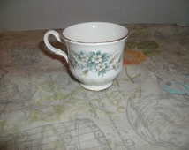 Queen Anne Bone China Tea Cup Delicate Blue Flowers With Gold Rim Made In England