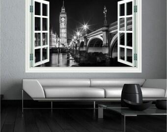 Big Ben Landscape Black and White Landmark Wall Art Sticker Decal  WAP-W102B1