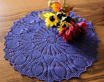 Large Purple Double-Pineapple Crocheted Doily or Centerpiece, approximately 17 inches in diameter